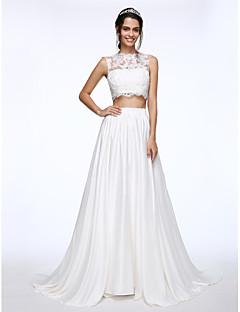 billiga A-linjeformade brudklänningar-A-linje Illusion Halsband Hovsläp Charmeuse med spets Bröllopsklänningar tillverkade med Bård / Applikationsbroderi / Knapp av LAN TING