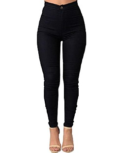 Women's Patchwork Slim High Rise Elasticity Skinny Pants Simple / Street chic