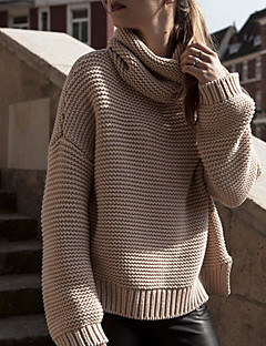 Women's Casual/Daily Street chic Regular Pullover,Solid Brown Turtleneck Long Sleeve Polyester Fall Winter Medium Micro-elastic