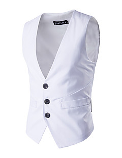 cheap Vests & Pants-Business Ceremony Wedding Solid 100% Cotton Suit Vest with Buttons Pocket