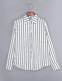 billige Klassiske sorte toppe-Krave Dame - Stribet Skjorte