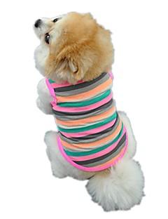 billiga Hundkläder-Katt Hund T-shirt Väst Hundkläder Rand Regnbåge Cotton Kostym För husdjur Herr Dam Gulligt Ledigt/vardag Semester Födelsedag Vindtät Mode
