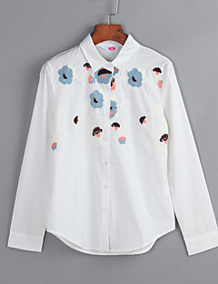 Women's Plus Size / Daily Casual Floral / Embroidered Shirt Collar Long Sleeve White Cotton Shirt