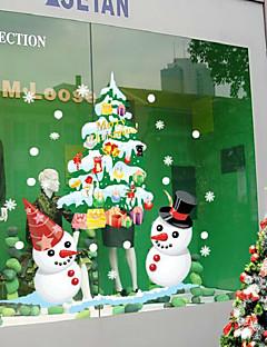 クリスマスショーウィンドウディスプレイ白い雪だるまは、壁のステッカーを着色する50 * 70センチメートル