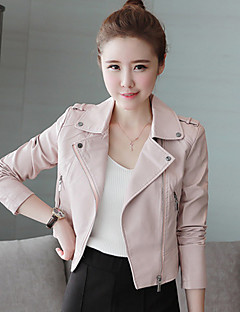 Women's Leather Jacket,Solid PU