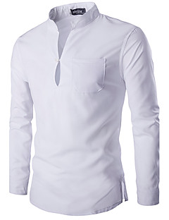 Men's Daily Casual Spring / Fall ShirtSolid Stand Long Sleeve White / Black Cotton Medium