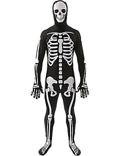 billige Halloweenkostymer-Cosplay Kostumer Party-kostyme Skjelett/Kranium Festival/høytid Halloween-kostymer Trykt mønster Trikot/Heldraktskostymer HalloweenMann