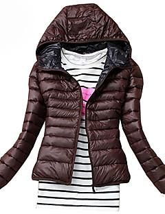 Χαμηλού Κόστους Women's Down Coats-Γυναικεία Μεγάλα Μεγέθη Ενισχυμένο - Μονόχρωμο, Κλασσικό στυλ Με Κουκούλα / Χειμώνας