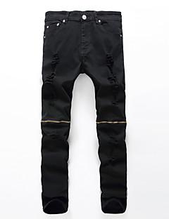 Herre Løstsittende / Rett Store størrelser Jeans Bukser-Fritid/hverdag Vintage / Gatemote Stripet Flettet Lavt liv Glidelås Nylon / Bomull