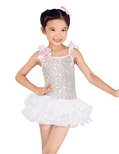 cheap Latin Dance Wear-Ballet Dresses Performance Polyester Spandex Organza Sequined Sequin Paillette Crystals/Rhinestones Ruched Ruffles Sleeveless Dropped