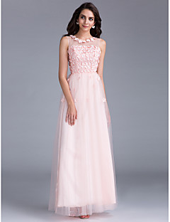 cheap Special Occasion Dresses-A-Line Illusion Neckline Floor Length Tulle Prom / Formal Evening / Family Gathering / Holiday Dress with Beading Flower by TS Couture®