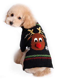 Cat Dog Sweater Dog Clothes Cute Holiday Christmas Reindeer Black Costume For Pets