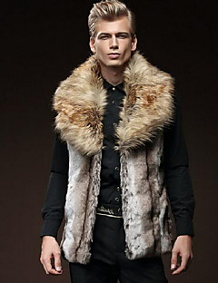 Men's Casual/Daily Street chic Fur Coat,Solid Shirt Collar Sleeveless Fall / Winter Brown Faux Fur Thick