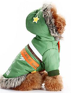 billiga Hundkläder-Hund Huvtröjor Hundkläder Bokstav & Nummer Röd Grön Ull Cotton Ner Kostym För husdjur Herr Dam Ledigt/vardag Vindtät Håller värmen Mode