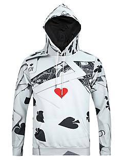 billige Hættetrøjer og sweatshirts til herrer-Herre Langærmet Rund hals Hattetrøje - 3D Print