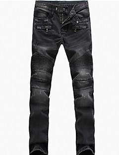 Brand Fashion Men's Solid Blue / Black Jeans / Chinos PantsSimple Spring / Fall Hot Sale Demin Pants