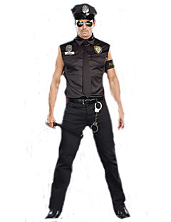 billige Halloweenkostymer-Politi karriere Kostymer Cosplay Kostumer Party-kostyme karriere Kostymer Herre Film-Cosplay Svart Topp Bukser Hatt Halloween Karneval polyester