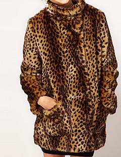 Damen Leopard Retro Street Schick Anspruchsvoll Party Lässig/Alltäglich Übergröße Pelzmantel,Ständer Winter Lange Ärmel Lang Kunst-Pelz