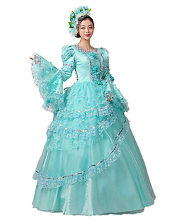 Victorian Rococo Women's One-Piece/Dress Blue Cosplay Lace Cotton Floor Length