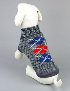 billiga Hundkläder-Katt Hund Tröjor Hundkläder Geometrisk Grå Rosa Akrylik Fiber Kostym För husdjur Herr Dam Ledigt/vardag