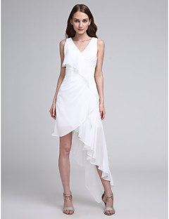 cheap Short Bridesmaid Dresses-A-Line V Neck Asymmetrical Chiffon Bridesmaid Dress with Pleats by LAN TING BRIDE®