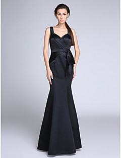 cheap Special Occasion Dresses-Mermaid / Trumpet Straps Floor Length Satin Formal Evening Dress with Side Draping by TS Couture®
