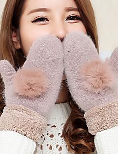 女性のウサギの毛球子羊の毛皮の指先の手首の長さのアニマルプリントのかわいい冬の手袋