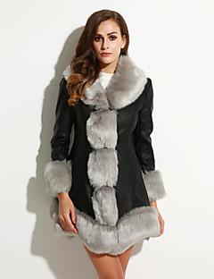 billige Overtøj til damer-V-hals Klassisk Stil, Dame Ensfarvet Plusstørrelser - Pelsfrakke