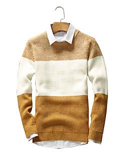 baratos Suéteres & Cardigans Masculinos-Masculino Padrão Pulôver,Para Noite Casual Férias Vintage Simples Moda de Rua Sólido Listrado Azul Vermelho Preto Marrom AmareloDecote