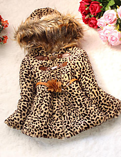 Girls' Daily Leopard Down & Cotton Padded,Cotton Winter Long Sleeve Animal Print Camel