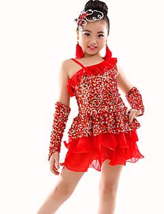 tanie Dziecięca odzież do tańca-Taniec brzucha Outfits Wydajność Poliester Cekin Marszczenia Trykot opinający ciało / Śpiochy dla dorosłych Rękawice