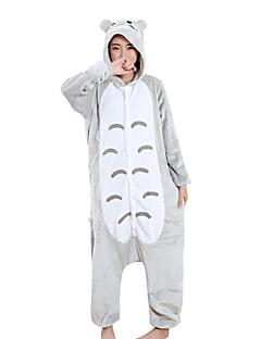 billige Kigurumi-Voksne Kigurumi-pysjamas Tegneserie Anime Totoro Onesie-pysjamas Fløyel Mink Grå Cosplay Til Damer og Herrer Pysjamas med dyremotiv Tegnefilm Festival / høytid kostymer