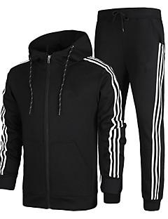 Herrn Trainingsanzug Langarm warm halten Weich Komfortabel Hosen/Regenhose Kapuzenshirt Jacke Kleidungs-Sets Oberteile für Rennen Übung &