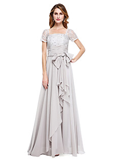 cheap Mother of the Bride Dresses-A-Line Square Neck Floor Length Chiffon Mother of the Bride Dress with Beading Bow(s) by LAN TING BRIDE®