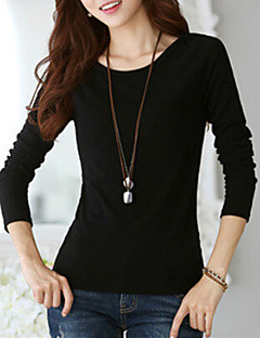 Women's Going out Casual/Daily Plus Size Street chic Spring Fall T-shirt,Solid Round Neck Long Sleeves Cotton Spandex Medium