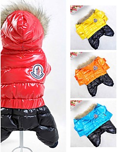 Dog Coat Hoodie Jumpsuit Dog Clothes Stylish Keep Warm Windproof Sports Fashion Color Block Orange Yellow Red Blue Costume For Pets