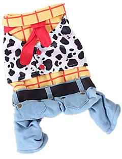 billiga Hundkläder-Hund Dräkter/Kostymer Jumpsuits Hundkläder Jeans Regnbåge Cotton Kostym För husdjur Herr Dam Cowboy Mode