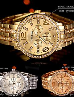 Dames Polshorloge Gesimuleerd Diamant Horloge Kwarts Strass / Legering Band Amulet Glitter Cool Zilver Goud Goud Rose