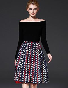 Χαμηλού Κόστους A Line Retro Skirts-Γυναικεία Γραμμή Α Βίντατζ Δουλειά Φούστες - Γεωμετρικό, Πλισέ