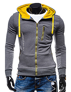 Men's Sports Simple Active Hoodie Jacket Solid Hooded Micro-elastic Polyester Long Sleeve Spring Fall Winter