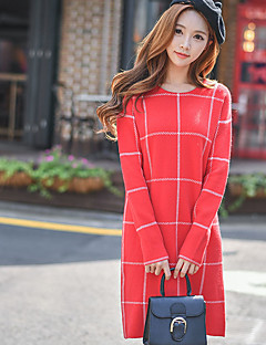 DABUWAWA Women's Going out / Casual/Daily / Holiday Vintage / Street chic / Sophisticated Loose / Shift / Sweater DressColor Block Round Neck Plaid
