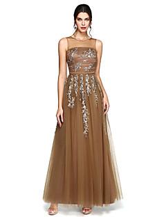 Linia -A Bijuterie Lungime Podea Tulle Bal Seară Formală Rochie cu Mărgele Aplică Ruching de TS Couture®