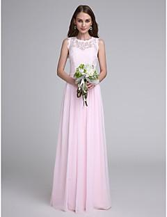 billige Romantisk rosa-Tube / kolonne Besmykket Gulvlang Chiffon Livstykke i blonder Brudepikekjole med Blonder av LAN TING BRIDE®