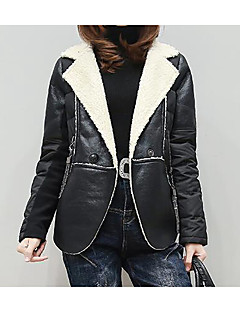 Women's Casual/Daily Simple Coat,Solid Sleeveless Winter Gray Faux Fur Thick