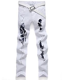 billige Herrebukser og -shorts-Herre Gatemote Store størrelser Bomull Tynn Rett Jeans Bukser - Trykt mønster