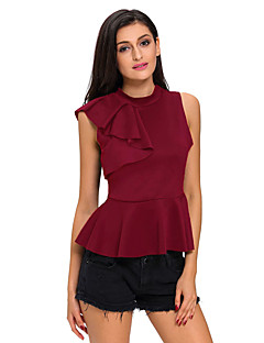 Women's Ruffle Asymmetric Ruffle Side Peplum Top