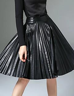 Kadın A Şekilli Solid Büzgülü Etekler,Basit / Sokak Şıklığı / Punk ve Gotik Dışarı Çıkma / Günlük/Sade / Çalışma,Normal Bel