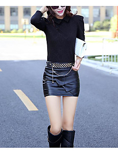 Women's Daily Above Knee Skirts,Sexy Bodycon Polyester Solid Fall