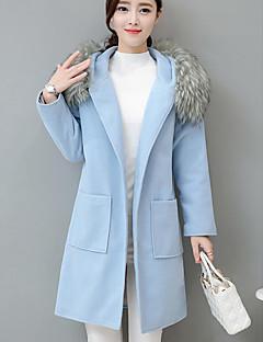 女性 カジュアル/普段着 冬 ソリッド コート,シンプル ブルー / グリーン ポリエステル 長袖 厚手