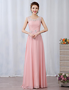 A-Line Illusion Neckline Floor Length Chiffon Lace Prom Formal Evening Dress with Beading Appliques Flower(s) by Yaying